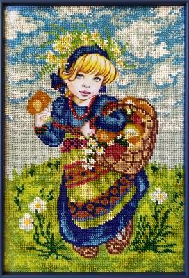 Набор для вышивания бисером «Девочка с лукошком» - фото 4626