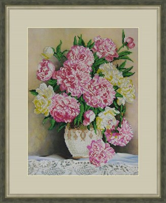 Набор для вышивания бисером «Пионы в вазе» - фото 4655