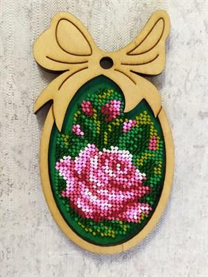 Набор для вышивания бисером в фигурной рамке  Розовая роза - фото 4816