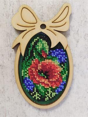 Набор для вышивания бисером в фигурной рамке Красный мак - фото 4829