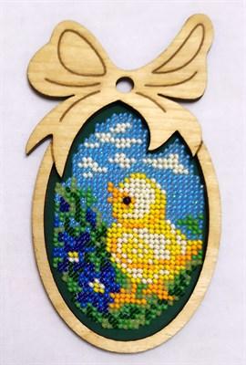 Набор для вышивания бисером в фигурной рамке Цыплёнок - фото 4847