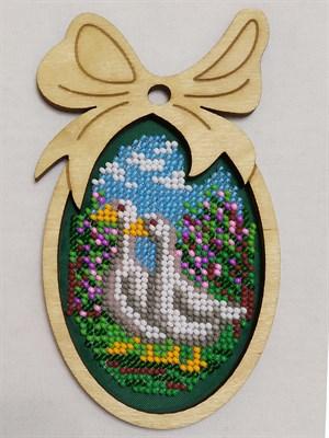 Набор для вышивания бисером в фигурной рамке Гуси - фото 4854