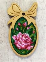 Набор для вышивания бисером в фигурной рамке  Розовая роза