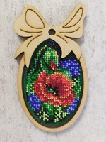 Набор для вышивания бисером в фигурной рамке Красный мак